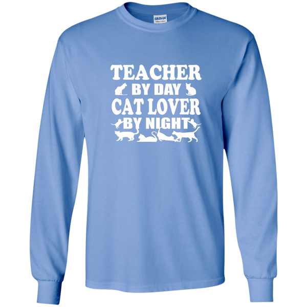Teacher by Day Cat Lover by Night LS Ultra Cotton Tshirt - TeachersLoungeShop - 5
