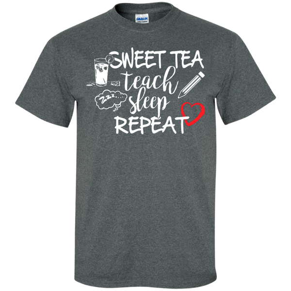 Sweet Tea Teach Sleep Repeat  T-Shirt - TeachersLoungeShop - 6