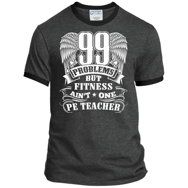 99 Problems But Fitness Ain't One PE Teacher Ringer Tee - TeachersLoungeShop - 3