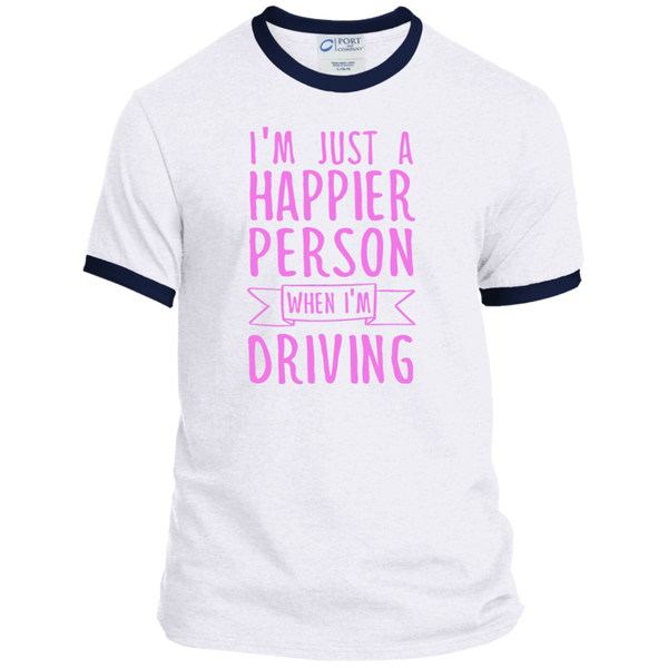 I'm Just a Happier Person When I'm Driving Ringer Tee - TeachersLoungeShop - 3