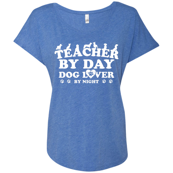 Teacher By Day Dog Lover Next  Level Ladies Triblend Dolman Sleeve - TeachersLoungeShop - 8