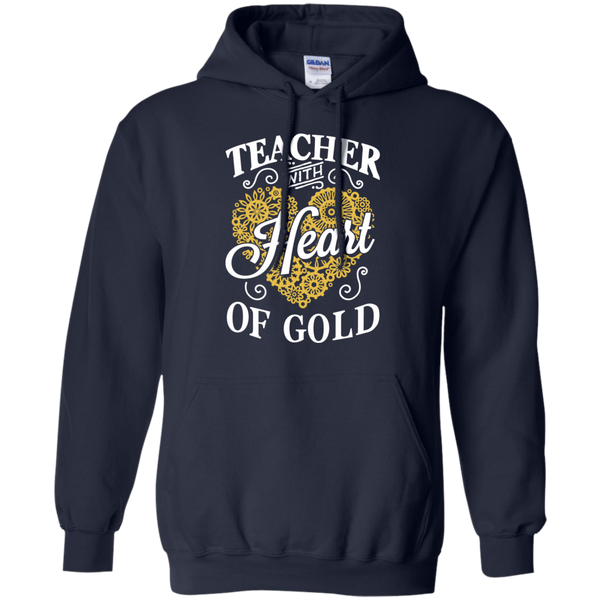 Teacher with Heart of Gold  Hoodie 8 oz - TeachersLoungeShop - 2