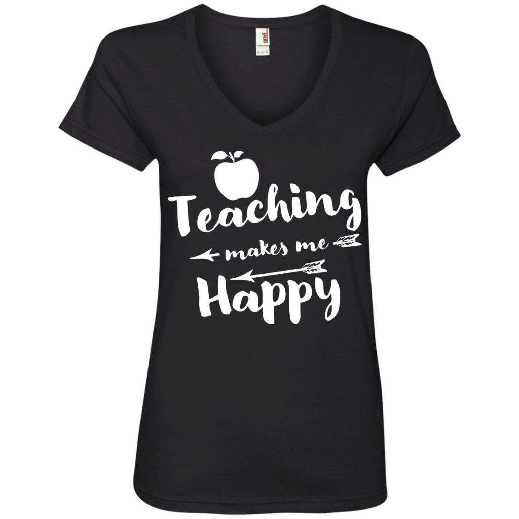 Teaching makes me Happy  Ladies  V-Neck Tee - TeachersLoungeShop - 1