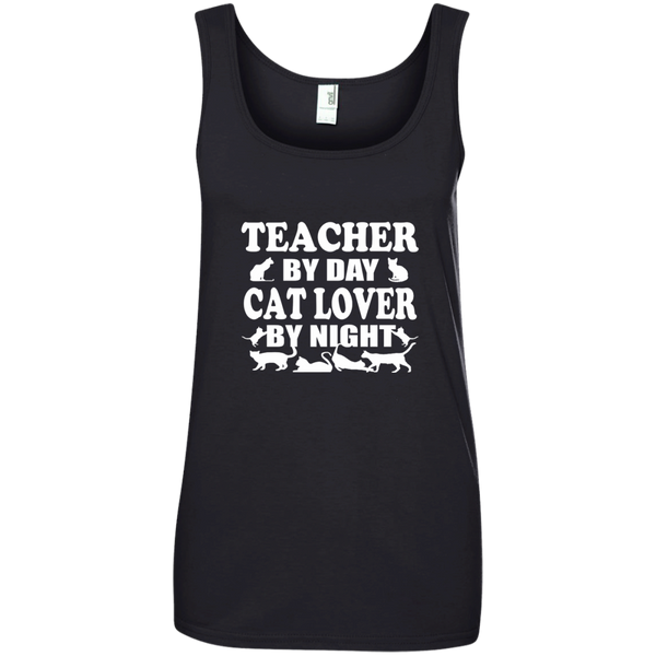 Teacher by Day Cat Lover by Night Ladies' 100% Ringspun Cotton Tank Top - TeachersLoungeShop - 3