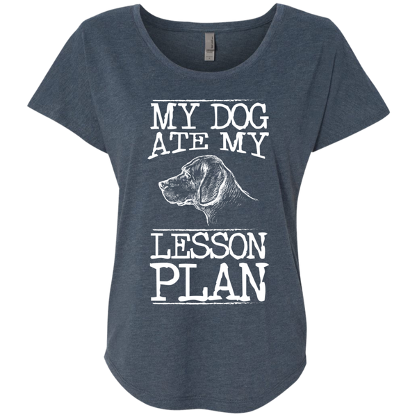 My Dog Ate my Lesson Plan  Next Level Ladies Triblend Dolman Sleeve - TeachersLoungeShop - 1