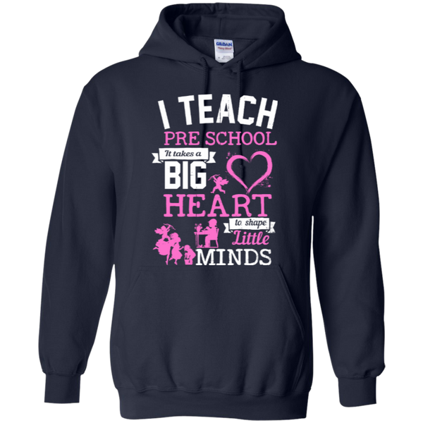 I Teach Preschool It Takes a Big Heart to Shape Little Minds Hoodie 8 oz - TeachersLoungeShop - 2