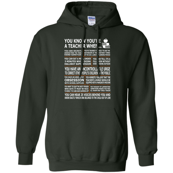 You Know You're a Teacher When Pullover Hoodie 8 oz - TeachersLoungeShop - 6