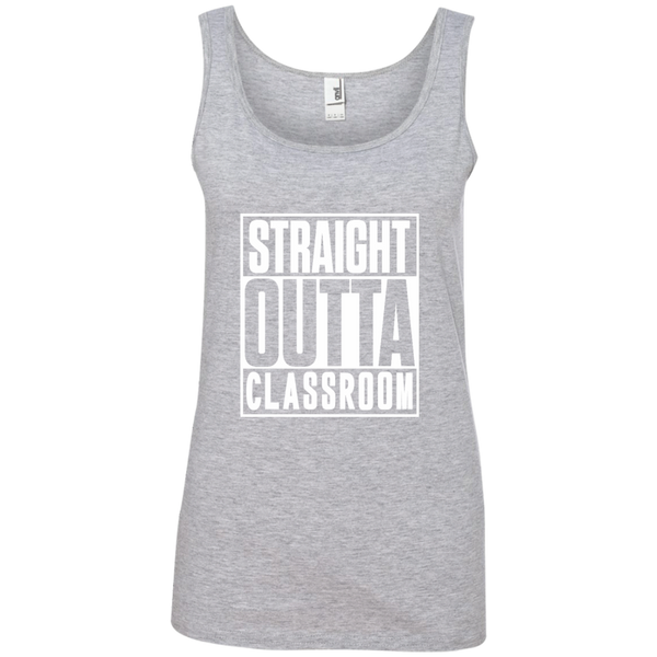 Straight Outta Classroom Ladies' 100% Ringspun Cotton Tank Top - TeachersLoungeShop - 2