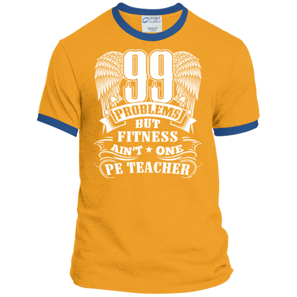 99 Problems But Fitness Ain't One PE Teacher Ringer Tee - TeachersLoungeShop - 4