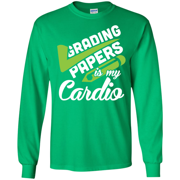 Grading papers is my cardio  LS Ultra Cotton Tshirt - TeachersLoungeShop - 4