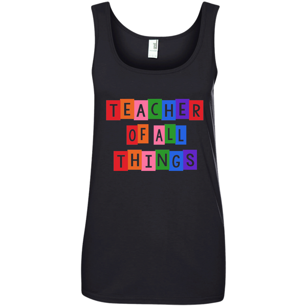 Teacher of all Things Ladies' 100% Ringspun Cotton Tank Top - TeachersLoungeShop - 4