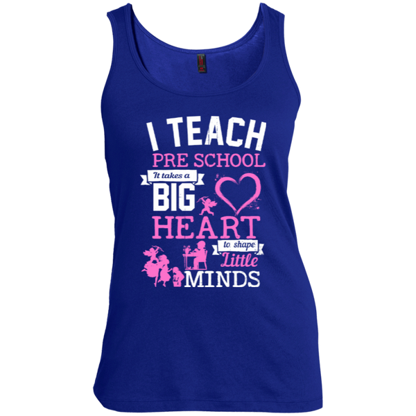 I Teach Preschool It Takes a Big Heart to Shape Little Minds  Scoop Neck Tank Top - TeachersLoungeShop - 2