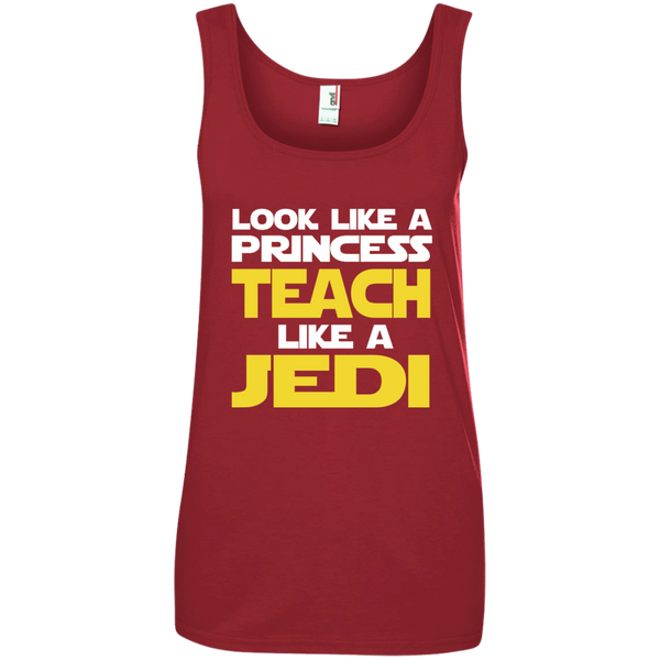 Look Like a Princess Teach Like a Jedi Ladies' 100% Ringspun Cotton Tank Top - TeachersLoungeShop - 3
