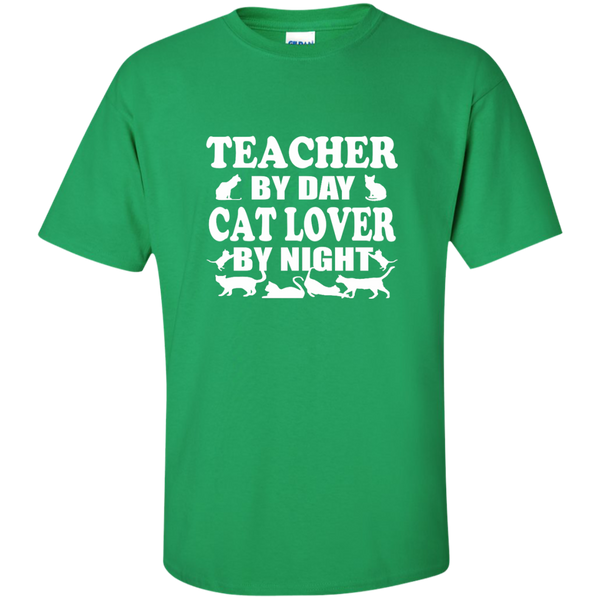 Teacher by Day Cat Lover by Night Cotton T-Shirt - TeachersLoungeShop - 8