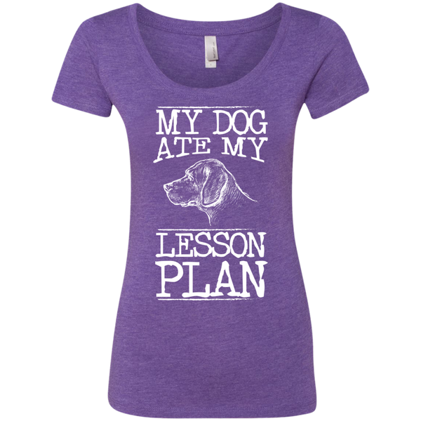 My Dog Ate my Lesson Plan Next Level Ladies Triblend Scoop - TeachersLoungeShop - 1