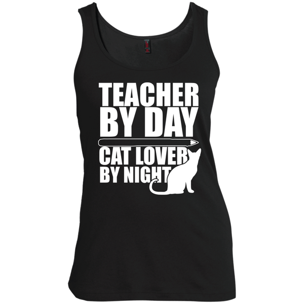 Teacher by Day Cat Lover by Night Womens Scoop Neck Tank Top - TeachersLoungeShop - 2