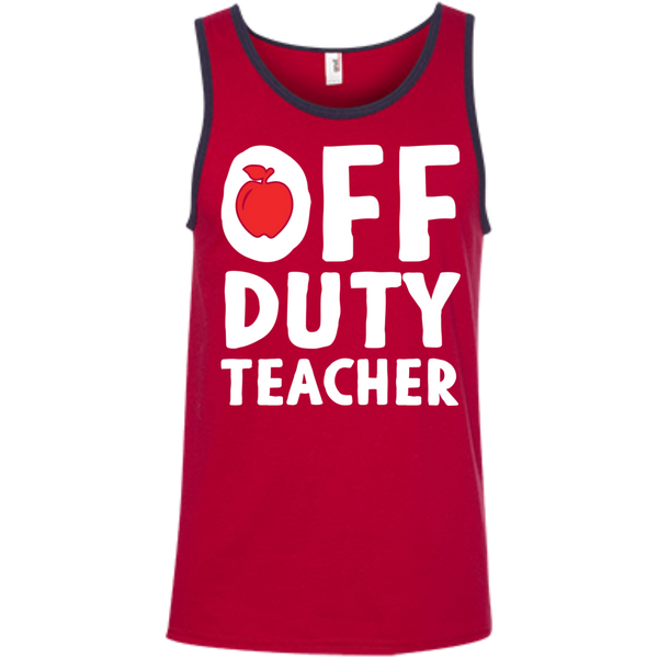 Off Duty Teacher  Ringspun Cotton Tank Top - TeachersLoungeShop - 5