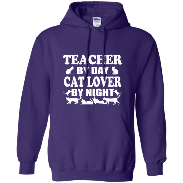 Teacher by Day Cat Lover by Night Pullover Hoodie 8 oz - TeachersLoungeShop - 10