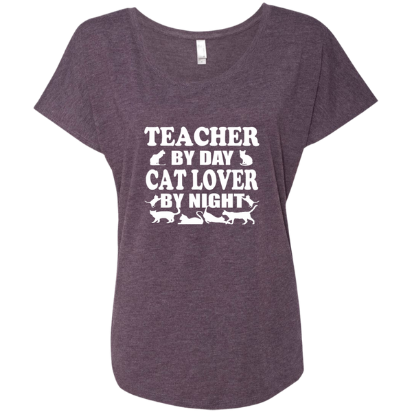 Teacher by Day Cat Lover by Night Next Level Ladies Triblend Dolman Sleeve - TeachersLoungeShop - 6