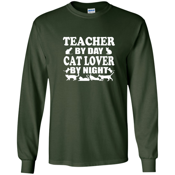 Teacher by Day Cat Lover by Night LS Ultra Cotton Tshirt - TeachersLoungeShop - 2