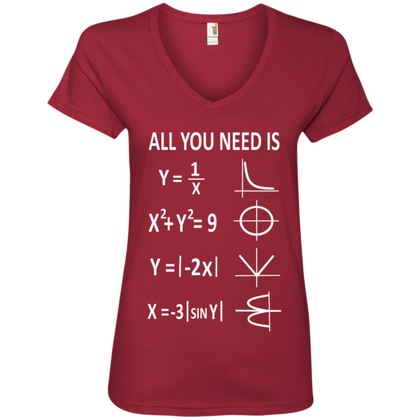 All You Need is Love Ladies' V-Neck Tee - TeachersLoungeShop - 3