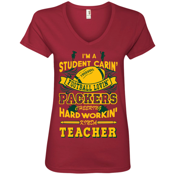 Student Caring Loving Cheering Packers Teacher   V-Neck Tee - TeachersLoungeShop - 2