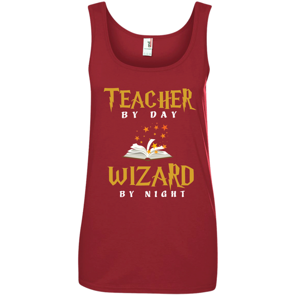 Teacher by Day Wizard by Night Ladies' 100% Ringspun Cotton Tank Top - TeachersLoungeShop - 3