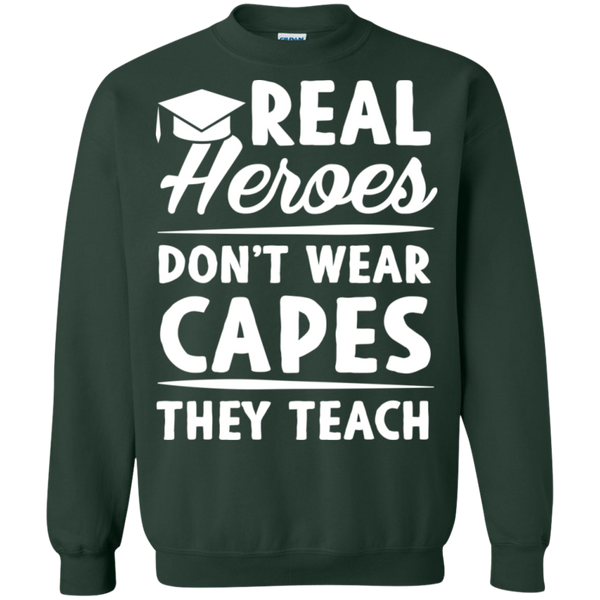Real Heroes Dont wear capes They Teach  Pullover Sweatshirt  8 oz - TeachersLoungeShop - 5