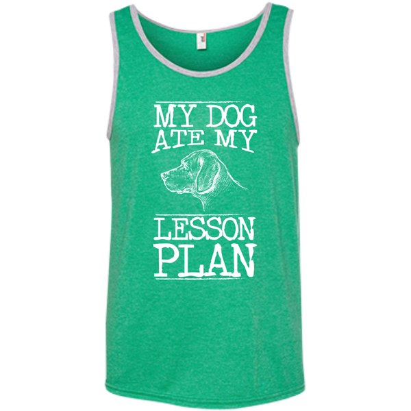 My Dog Ate my Lesson Plan  100% Ringspun Cotton Tank Top - TeachersLoungeShop - 2