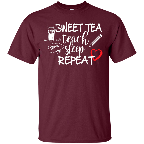 Sweet Tea Teach Sleep Repeat  T-Shirt - TeachersLoungeShop - 7