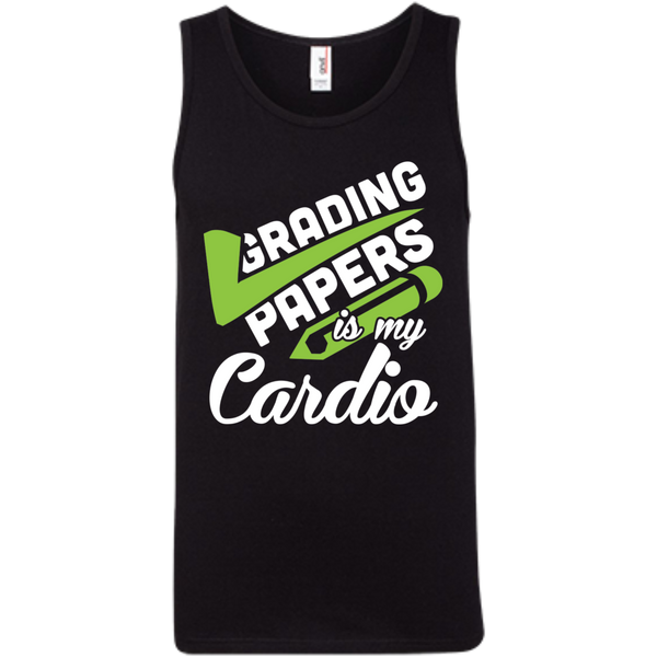 Grading papers is my cardio  100% Ringspun Cotton Tank Top - TeachersLoungeShop - 1