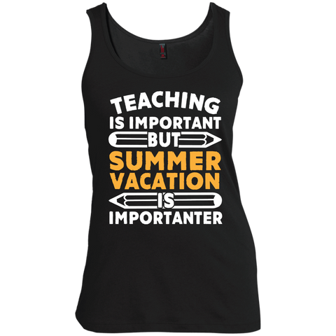 Teaching is important but Summer vacation is importanter  Scoop Neck Tank Top - TeachersLoungeShop - 1