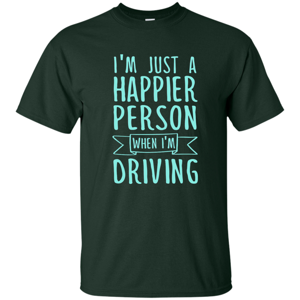 I'm Just a Happier Person When I'm Driving Cotton T-Shirt - TeachersLoungeShop - 2