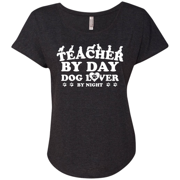 Teacher By Day Dog Lover Next  Level Ladies Triblend Dolman Sleeve - TeachersLoungeShop - 4