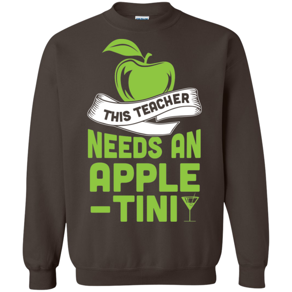 THIS TEACHER NEEDS AN APPLE-TINI Crewneck Pullover Sweatshirt  8 oz - TeachersLoungeShop - 6