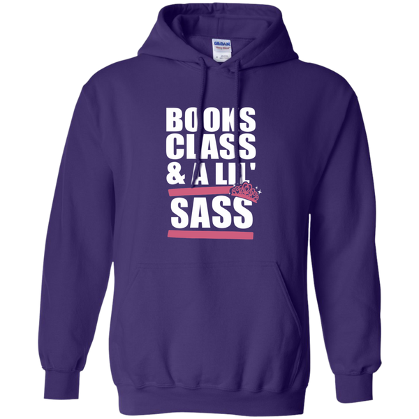 Books Class and A Little Sass Pullover Hoodie 8 oz - TeachersLoungeShop - 9