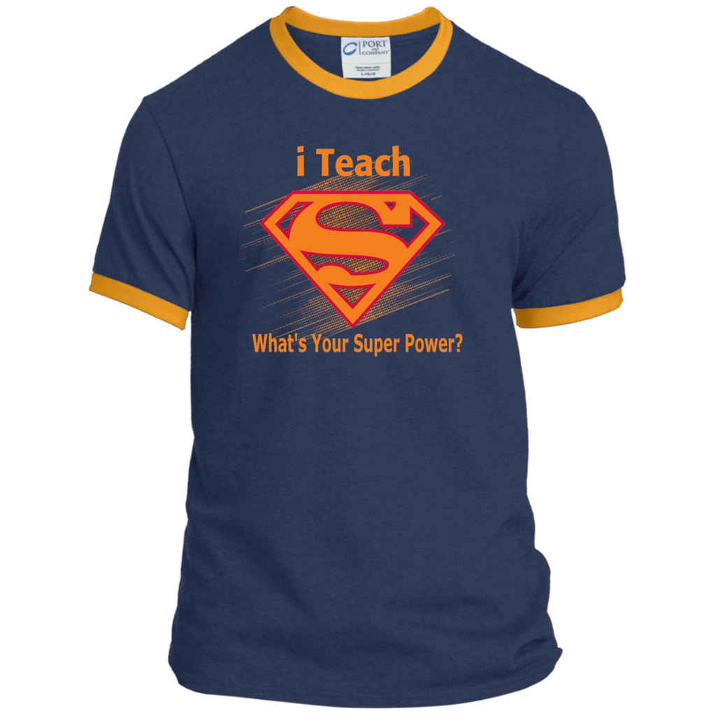i Teach What's Your Superpower Ringer Tee - TeachersLoungeShop - 1