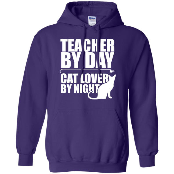 Teacher by Day Cat Lover by Night Hoodie 8 oz - TeachersLoungeShop - 11