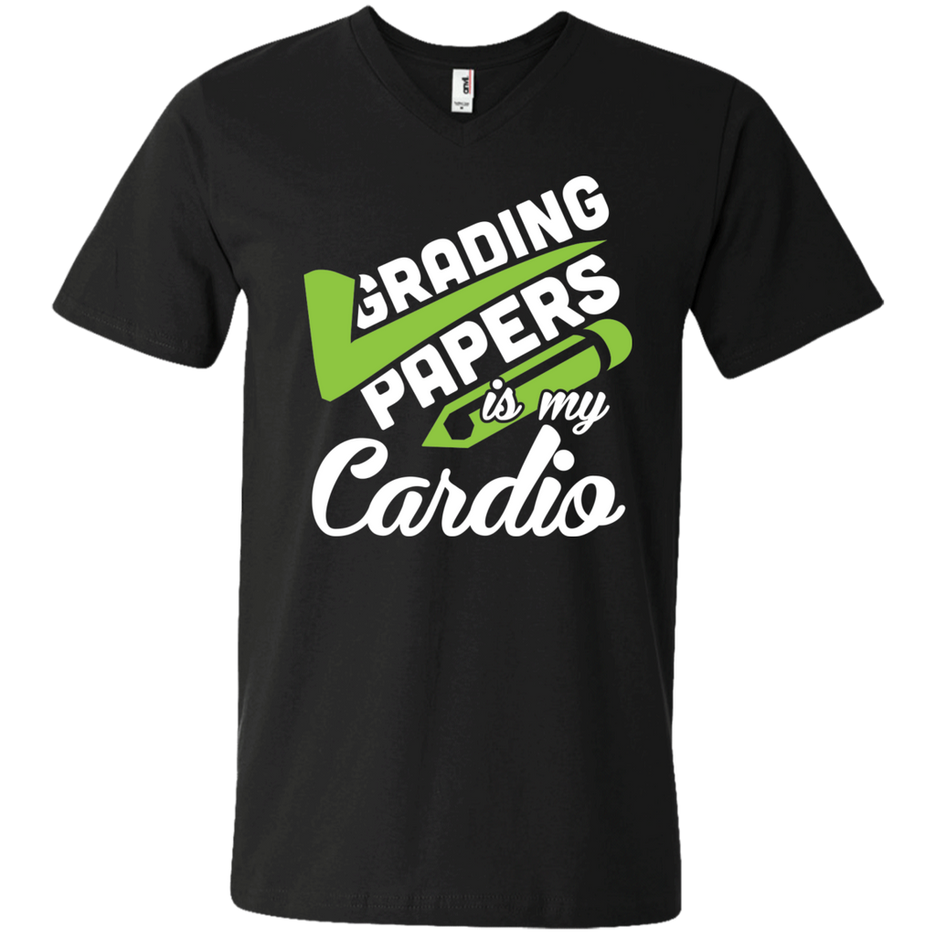 Grading papers is my cardio  Men's Printed V-Neck T - TeachersLoungeShop - 1
