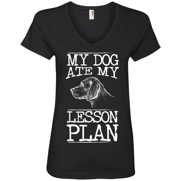 My Dog Ate my Lesson Plan  Ladies V-Neck Tee - TeachersLoungeShop - 2