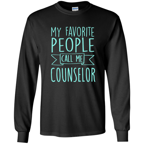 My Favorite People call Me Counselor LS Ultra Cotton Tshirt - TeachersLoungeShop - 1
