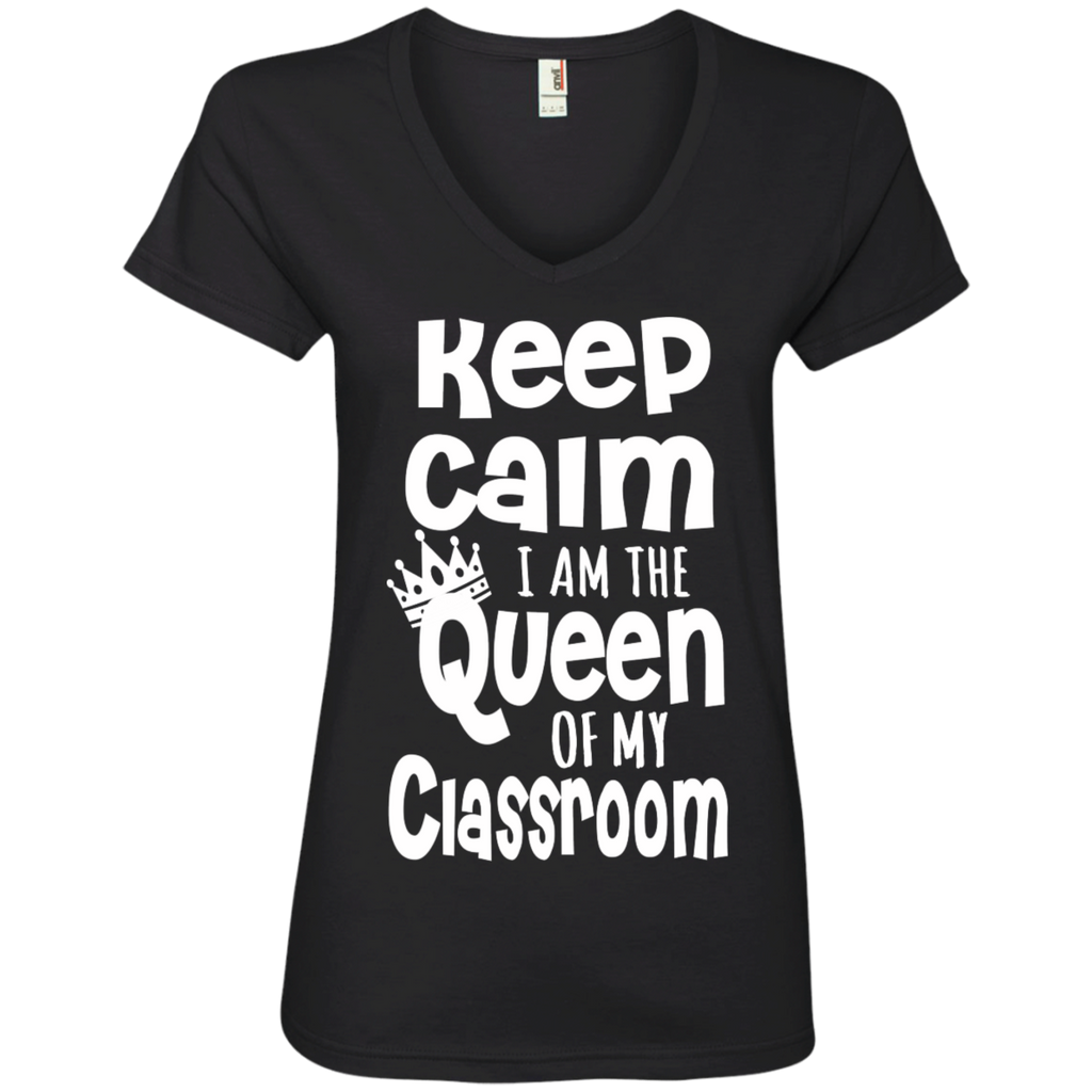 Keep Calm I am the Queen of My Classroom Ladies' V-Neck Tee - TeachersLoungeShop - 2