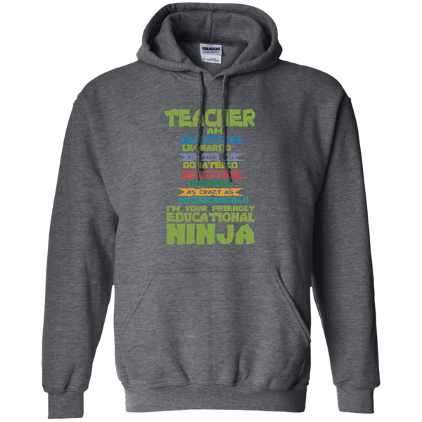 Teacher I'm Your Friendly Educational Ninja Pullover Hoodie 8 oz - TeachersLoungeShop - 4