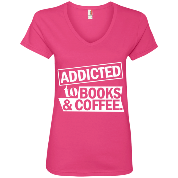 Addicted to Books and Coffee Ladies' V-Neck Tee - TeachersLoungeShop - 2