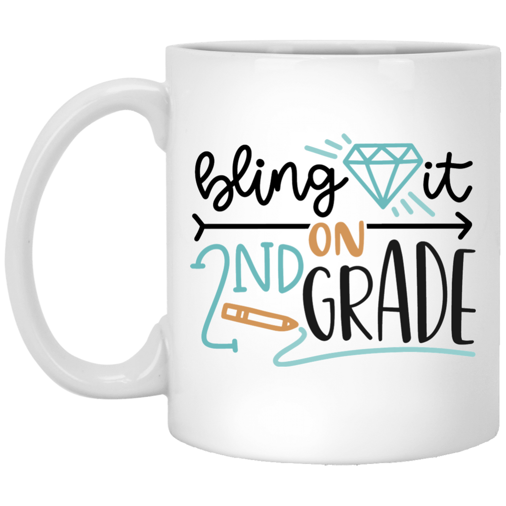 Bling it on 2nd Grade   11 oz. White Mug