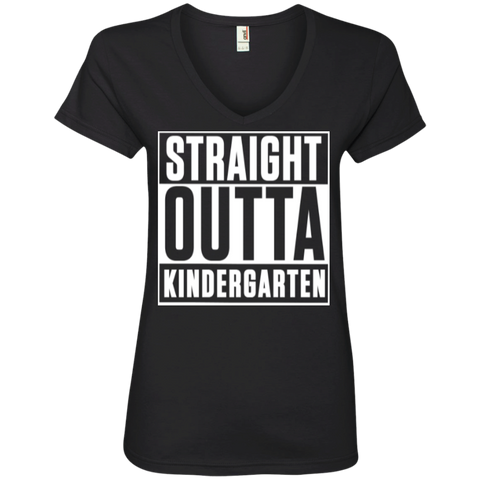 Straight Outta Kindergarten Ladies  V-Neck Tee - TeachersLoungeShop - 1