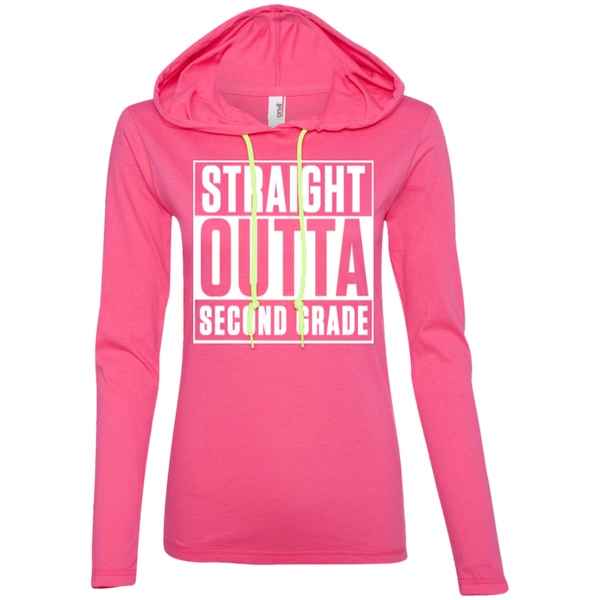 Straight Outta Second Grade   LS T-Shirt Hoodie - TeachersLoungeShop - 2