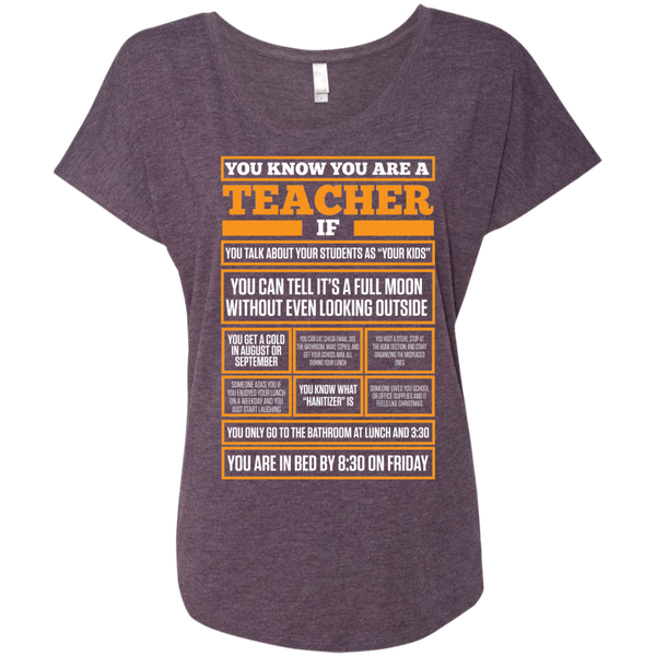 You know You are a Teacher if    Level Ladies Triblend Dolman Sleeve - TeachersLoungeShop - 6