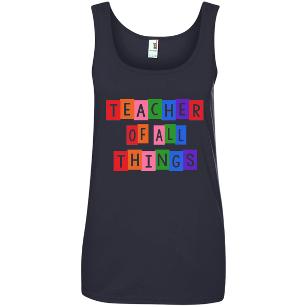 Teacher of all Things Ladies' 100% Ringspun Cotton Tank Top - TeachersLoungeShop - 6