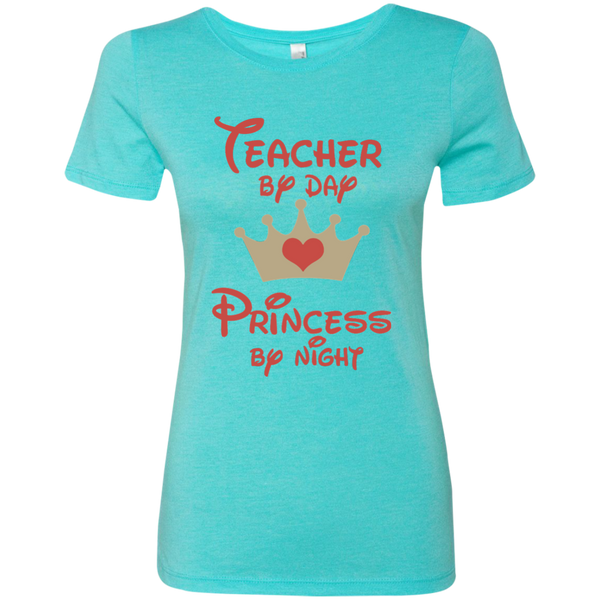 Teacher by Day Princess by Night Next Level Ladies Triblend T-Shirt - TeachersLoungeShop - 1